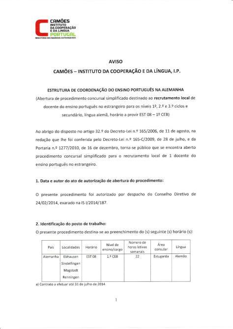 Abertura de procedimento concursal simplificado destinado ao recrutamento local de docente do ensino português no estrangeiro