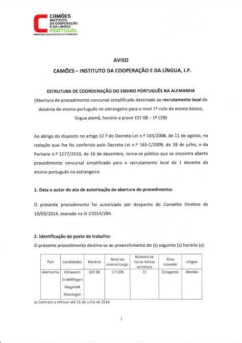 Abertura de procedimento concursal simplificado destinado ao recrutamento local de docente do ensino português na Alemanha - 1º Ciclo Ensino Básico