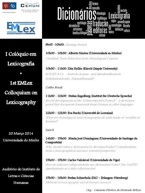 Divulgação: Colóquio Lexicografia Universidade do Minho